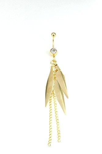 Adisaer Bauchnabelpiercing Chirurgenstahl Gold Blätter Kristall Anhänger Bauchnabel Piercing Nabelpiercing Bananabell (Rosa Yoshi Kostüm)