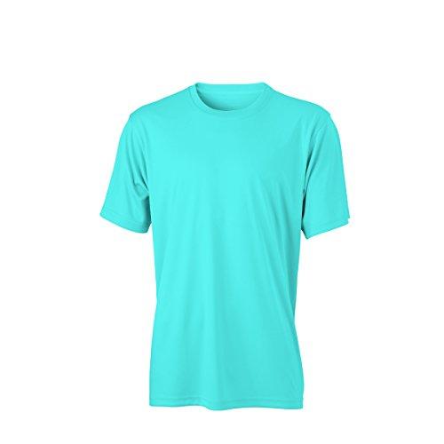 JAMES & NICHOLSON - Maglietta sportiva - Basic - Collo a U  - Maniche corte  -  uomo Bleu turquoise
