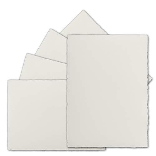 50 Stück DIN A5 Vintage Karten, echtes Bütten-Papier, 148 x 210 mm, Natur-Weiß halbmatt - ohne Falz - Vellum Oberfläche - Original Zerkall-Bütten - Karten-drucker