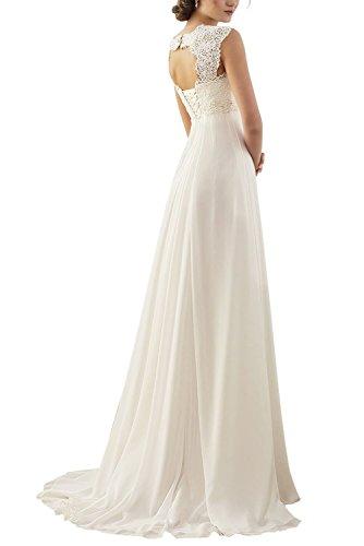 Erosebridal Ärmellos Spitze Chiffon Hochzeitskleid Brautkleid Elfenbein DE36 -
