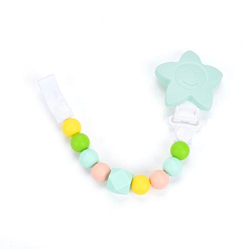 Cadena para Chupete - Chupetero Mordedor de Silicona Antibacteriana para los Dientes y Dentición del Bebe - Portachupetes - Ecológico, Hipoalergénico, no contiene BPA - Unisex