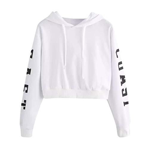 iYmitz DamenBriefeLange Ärmel Hoodie Sweatshirt Pullover Tops Bluse(Weiß,EU-38/CN-S)