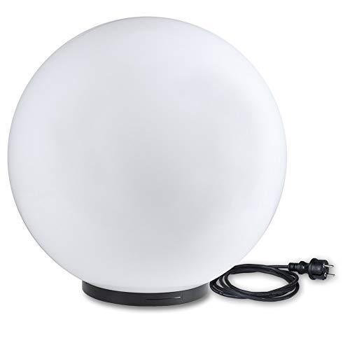 Kugelleuchte 60 cm Ø XXL | weiße Gartenlampe, Außenleuchte, schöne Deko für Innen & Außen, Gartenbeleuchtung, Gartenkugel für Energiesparlampen E27 & LED - 230 V & 200W, Kugellampe mit IP44, 2 m Kabel