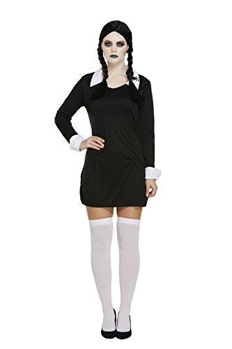 elige Puppe Kostüm - Mit schwarzem Kleid und Mittwoch Perücke Addams Stil für das komplette Halloween-Outfit - UK Größen 8-16 (Women: 38, Black) ()
