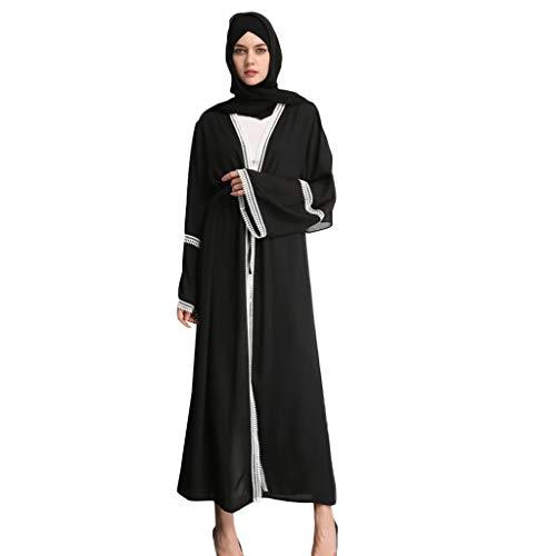 QinMM M-Damen Muslim Klassiker Bestickte Spitze Seite Strickjacke Kleid - Schwarze Und Weiße Perlen Sommer Schwarze Nähte Elegante Damenmode Gebet Hochzeitskleid S-XXL -