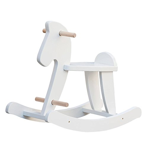 labebe Baby Rocking Horse Wooden, White Rocking Horse Toy for Baby Up 1 Year, Baby Rocker Chair/Toddler Rocker Toy/Child Rocking Horse/Wooden Rocking Horse Rocker/Baby Rocker Toy/Rocking Horse White