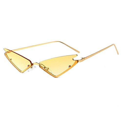 Hamkaw Retro Vintage schmale Katzenaugen-Sonnenbrille für Frauen Katzenaugen Sonnenbrille mit Metallrahmen & Augenschutz klare Brille Leichte Neon Mode Brille für Party Hochzeit Gold + Yellow (Sonnenbrille Hochzeit Personalisierte)