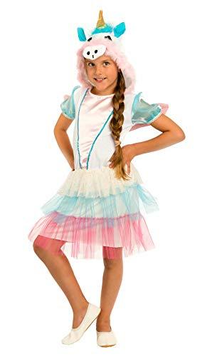 Magicoo Einhorn Kostüm Kinder Mädchen - Unicorn Einhornkleid mit Kapuze + Flügel (116)