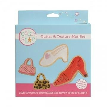 Cake Star Cutter and Texture Mat Set - Bags and Shoes
