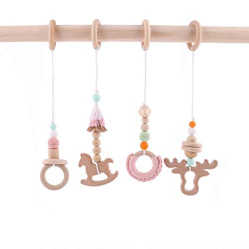 baby tete 4pc Baby Play Gym Jouets Anneau de Bois Perles De Bois Accessoires de Gym D'activité Jouets Suspendus
