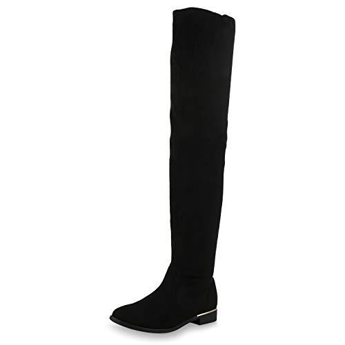 SCARPE VITA Mujer botín Zapatos sobre la Rodilla con Forro Ligero 173665 Negro 38