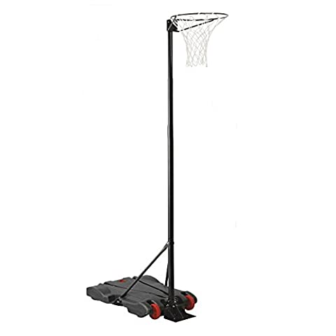 Charles Bentley Netball System Post Hoop including Adjustable Height 1.4M - 2.75M Free Standing On Wheels Weighted Net