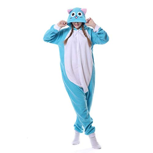 Venaster Pyjamas Herren Glückliche Habib Katze Erwachsene Unisex Animal Cosplay Overall Pajamas Anime Schlafanzug Jumpsuits Spielanzug Kostüme (Katze Kostüm Männlich)