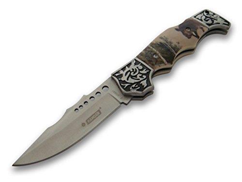 wunderschönes Waidmannsheil Jagd Taschenmesser - Klapp- Faltmesser - Deer Hunter Knife mit Wildschwein Motiv (Army Usa Knife)