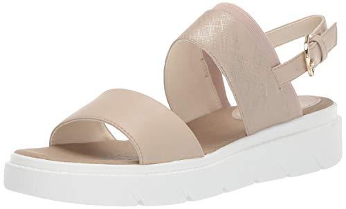 Geox Damen Tamas 4 Flache Sandale, Medium Beige, 41 EU - Perforierte Leder-plattform