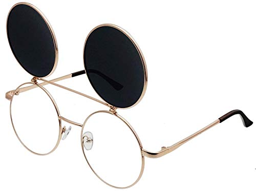 XIAOL Home Retro Flip-Up Runde Schutzbrille Seampunk Sonnenbrillen
