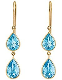 Gehna 18KT Yellow Gold and London Blue Topaz Drop Earrings for Women