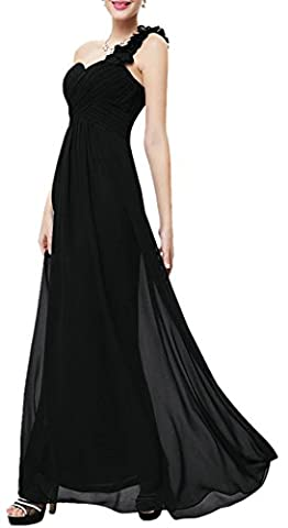 Une épaule Flower Chiffon Empire Floor Length Prom Evening Robe