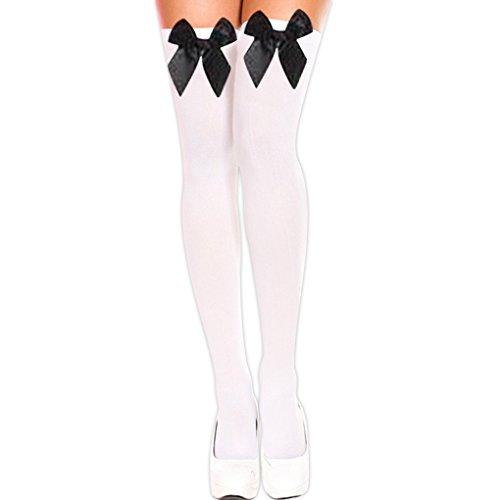 Sexy Über Die Knie-socken (QHGstore Damen Sexy Samt Bowknot über die Knie Oberschenkel hohe Strümpfe lange Socken weiße schwarze Socken Bowknot)
