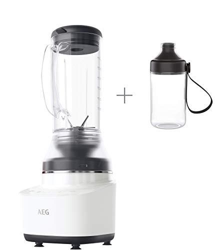 Rührer Klinge (AEG Gourmet 7 Kompaktmixer CB7-1-4CW (1,2 PS, 2 Stufen plus 2 Rezeptprogramme, 0,6 l Tritan-Krug, 6-Klingen Edelstahlmesser, Tasten mit LED-Hinterleuchtung, BPA-frei) weiß/schwarz)