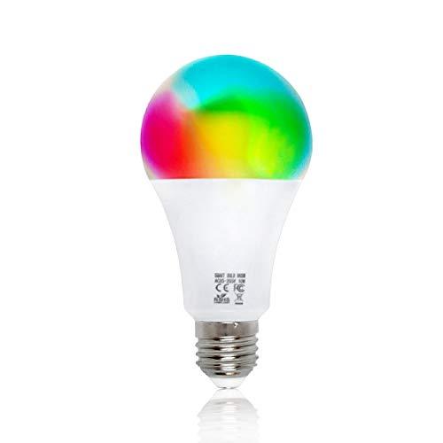 Lampadina Intelligente WiFi EMC Italy   Lampadina Smart 10W Multicolore (RGB), Bianco Caldo e Freddo   Funziona con Amazon Alexa/Echo e Google Assistant/Home per iOS/Android   Attacco E27 - 800 lm