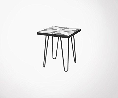 TemaHome Table d'appoint avec Carreaux de Ciment et Pieds métal Noir Arrow