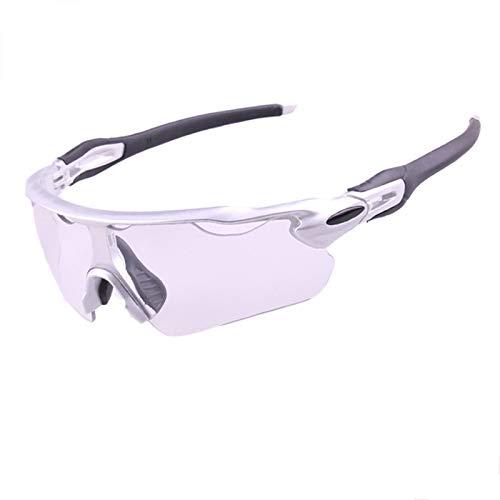 Epinki Erwachsene TR Verfärbung Fahrradbrille Winddicht Sonnenbrille Radsportbrille Motorradbrillen für Motorrad Fahrrad Helmkompatible, Silber Schwarz