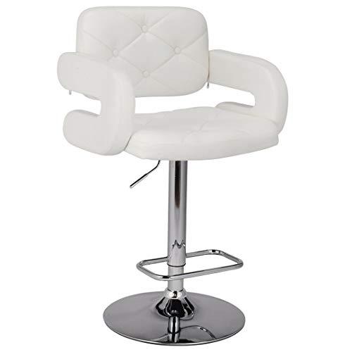 Sillón de piel sintética ajustable color blanco estilo barbero, para belleza y reposacabezas S