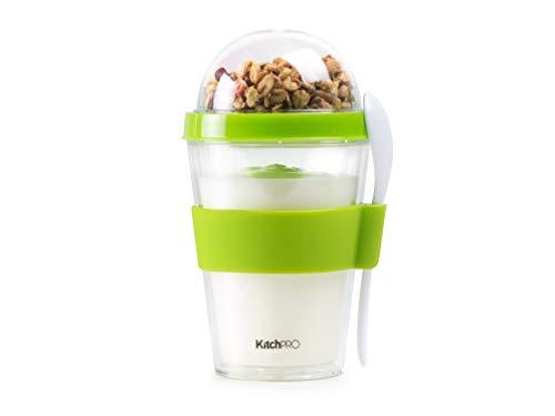 KITCHPRO Joghurt Cup to Go mit Müsli Container und Löffel, 300 ml, grün