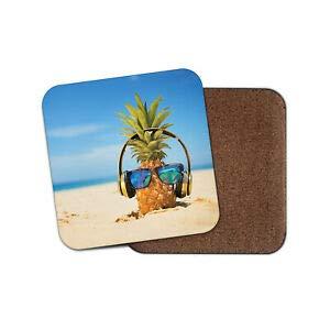 Worlddream Cool Ananas-Untersetzer - lustige Sonnenbrille, Kopfhörer, Küste, Strand, lustiges Geschenk