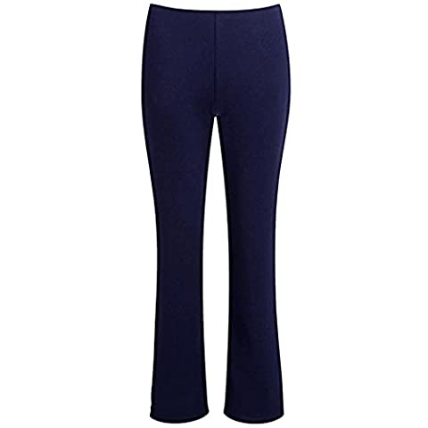 MyShoeStore®LADIES STRETCH BOOTLEG TROUSERS RIBBED WOMENS BOOTCUT ELASTICATED WAIST PANTS