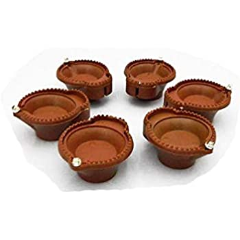 AEC® Plastic Smokeless LED Traditional Diyas Diwali Special Home Decoration - Battery Operated - Soil Brown (12)