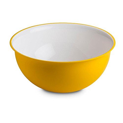Omada Design Saladier 6,5 litres 32,5 x 15,5 cm, blanc à l'intérieur et coloré à l'extérieur, en plastique antibactérien Microban et incassable, Ligne Sanaliving, Jaune