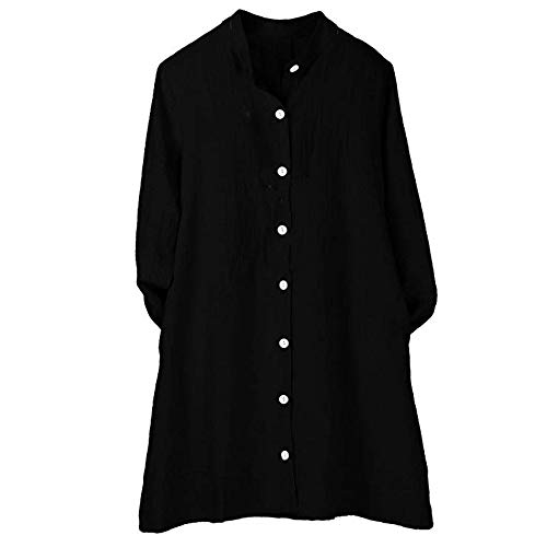OverDose mujer Con Cuello En Cuello De Manga Larga De AlgodóN Casual SóLido TúNica Suelta Tops Camiseta Mujer Talla Grande (XL, O-Negro)