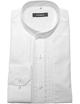 HUBER Festliches Stehkragen Hemd Weiß mit Biesen 0004 Bequeme Passform S bis 4XL