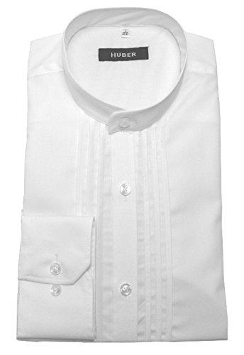 Elegantes Stehkragen Hemd weiß mit Biesen Gala Abend Party Shirt HUBER 0004 bequeme Passform S bis 4XL Weiß