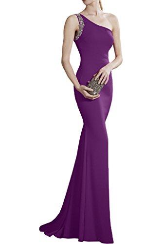 Victory Bridal Rot Ein-traeger Geraft Chiffon Abendkleider Partykleider Abschlussballkleider Figurbetont Lang Violett