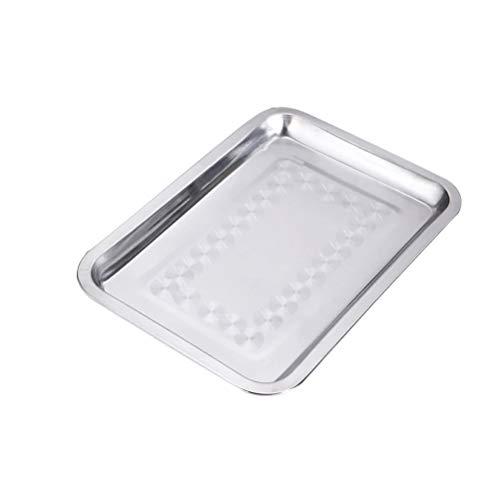 OUNONA Edelstahl Flacher Toaster Ofen Pfanne rechteckig ungiftig und gesund Keksblech Backform (32 x 22 cm) (Toaster Ofen Backen Pfanne)