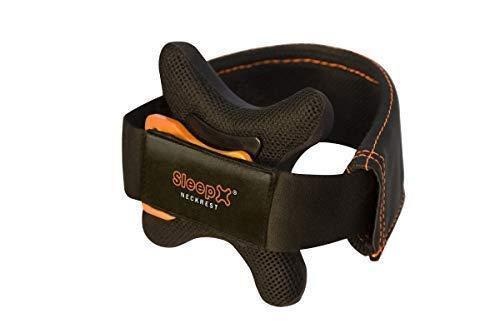 SleepX neckrest® - Premium Reisekissen, Kinnstütze: Besser als Nackenhörnchen- bequem, leicht, komfortabel, ideal zum Schlafen im Flugzeug, Auto, Bahn und Bus, (Gr. M (Kragenweite: 30 - 42))