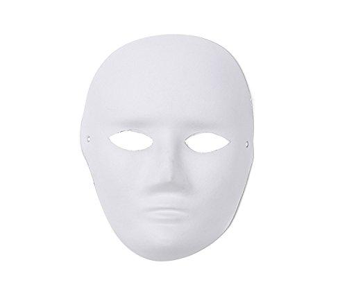 e Ihr eigenes Design Erwachsene weiße Halloween-Maske (3 Stück) (HM19) ()