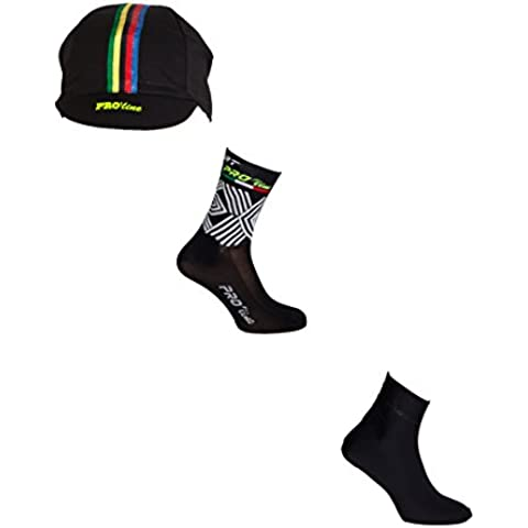 KIT COMBO CAPPELLINO CALZINI COPRISCARPE CICLISMO NERO PROLINE CYCLING ONE SIZE