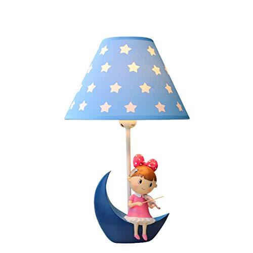 Harz Tischlampe Mond, Sternform Kleines Mädchen spielt die Geige Schlafzimmer Nachttischlampe LED Dimmbar Warm romantisch Kreativ Kind Warmes Licht 25 * 42 cm