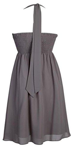 My Evening Dress - Kurzes Damen Cocktailkleid Neckholder Knielang Chiffon Kleider Abendkleider Ballkleider mit Strasssteinen Frauen Grau