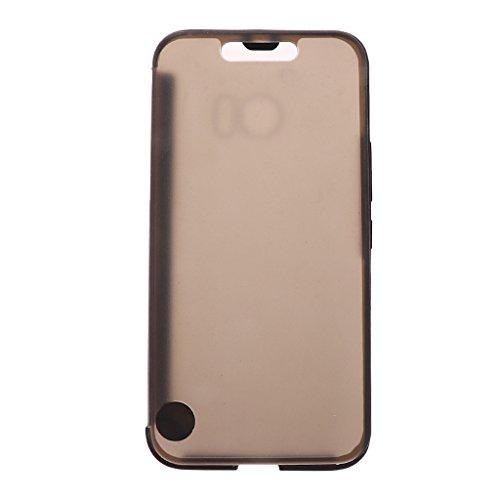 MagiDeal Ultradünne Dünne Eis Ansicht IceView Flip Smartphone Schutzhülle Hülle Fall für HTC 10 M10