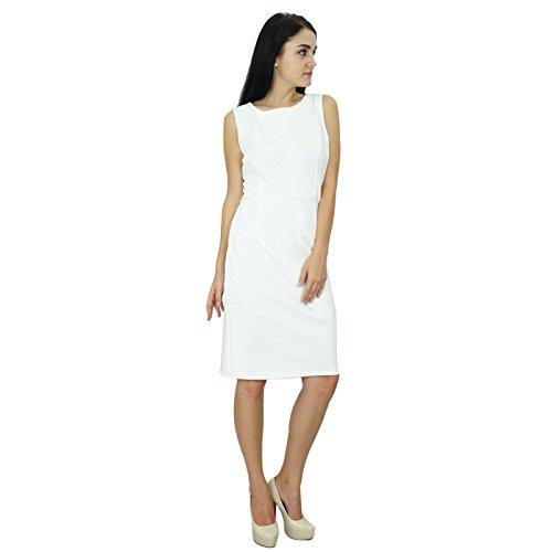 Bimba Classique Des Femmes Slim Fit Bodycon Robe Sans Manches Personnalisée Midi Formelle Blanc