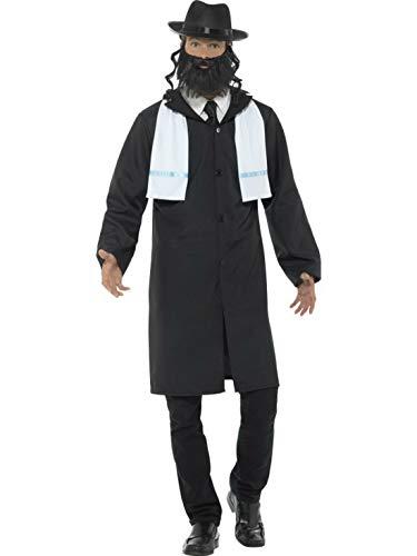 Rabbi Kostüm Jüdischer - Halloweenia - Herren Männer jüdisches Rabbi Jakob Kostüm mit Jacket, Schal, Perücke und Bart, perfekt für Karneval, Fasching und Fastnacht, L, Schwarz