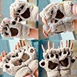 Handschuhe-Krallen-Katzen-Comic Süßer Winter-Handschuhe Finger Hälfte Boxpratzen, Finger Winter beige