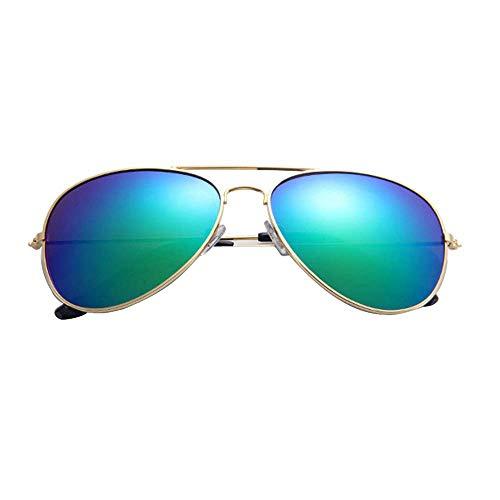 BOLANQ Frauen Männer Classic Unisex Retro Sonnenbrille MetallrahmenDamenmode große Breite Sonnenbrille integrierte sexy Vintage BrilleGold Grün