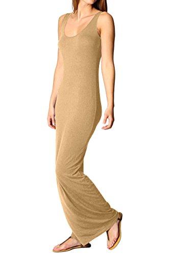YMING Damen Sommerkleid Ärmellos Einfarbig Stretch Sexy Casual Maxi Strandkleid Kaki