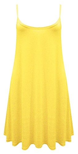 NEW dernière Cami Débardeur pour femme bretelles imprimé Swing robe longue sans manches pour femme Mesdames Tops Jaune - Jaune
